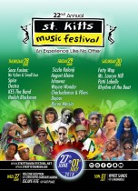 ST. KITTS 22ND ANNUAL MUSIC FESTIVAL IS GOING TO BE LIT!!! THREE NIGHTS & SEVENTEEN CHOICES FOR GREAT ENTERTAINMENT AND FANTASTIC MUSIC