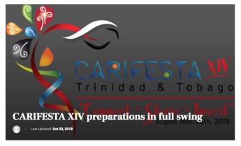 CARIFESTA XIV PREPARATIONS IN FULL SWING